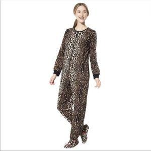 Nick & Nora leopard one piece fleece cat pajamas